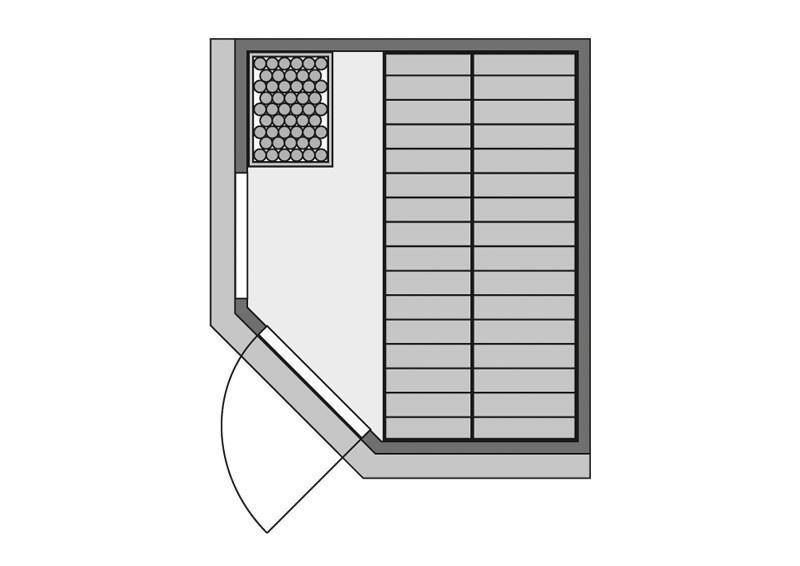 Karibu System Sauna Amelia 1 mit Dachkranz (Eckeinstieg) 68 mm