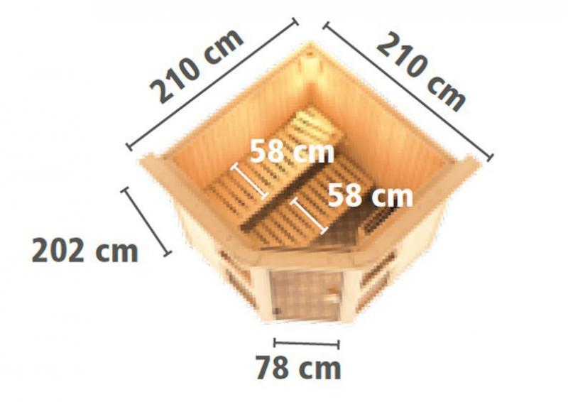 Karibu System Sauna Amelia 2 (Eckeinstieg) 68 mm
