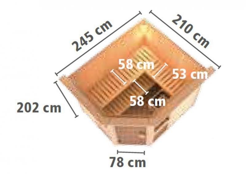 Karibu System Sauna Amelia 3 (Eckeinstieg) 68 mm