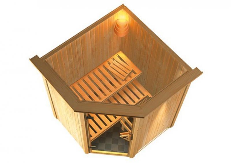 Sonderangebot: Karibu Element Sauna 230 Volt Nanja (Eckeinstieg)