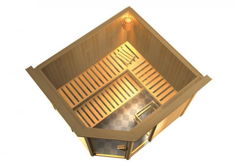 Sonderangebot: Karibu System Sauna Fiona 3 Sparset (Eckeinstieg) 68 mm