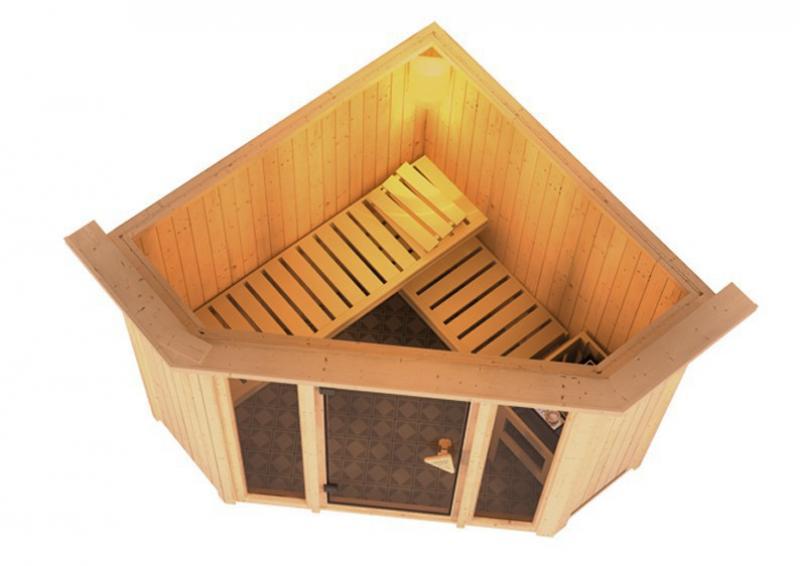 Sonderangebot: Karibu System Sauna Flora 1 Ganzglas Sparset (Fronteinstieg) 68 mm