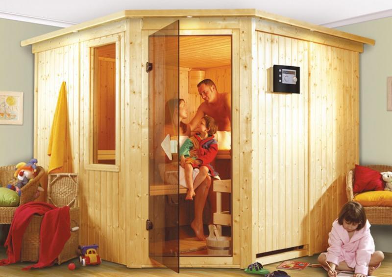 Sonderangebot: Karibu System Sauna Farin Sparset (Eckeinstieg) 68 mm
