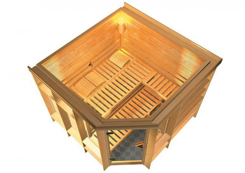 Sonderangebot: Karibu Massiv Sauna Marona (Eckeinstieg) 40 mm mit Dachkranz Sparset