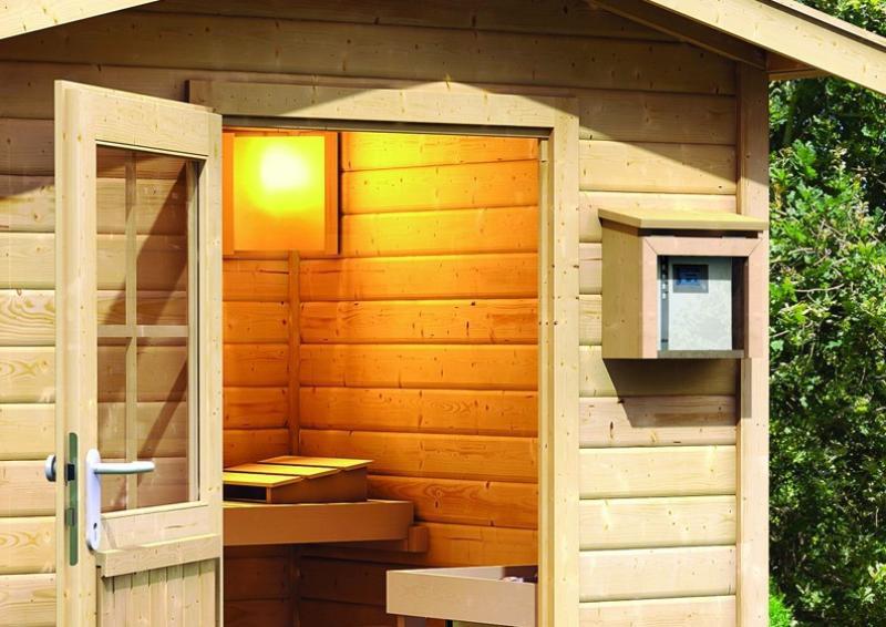 Sauna-Spar-Set: Karibu Scandic Saunahaus 38 mm Massiv Stockholm 2 (Maße: 231x196 cm) inkl. 9 KW Finnisch-Ofen ext. Strg. und Zubehör inkl. Kabelsatz - Selbstbausatz