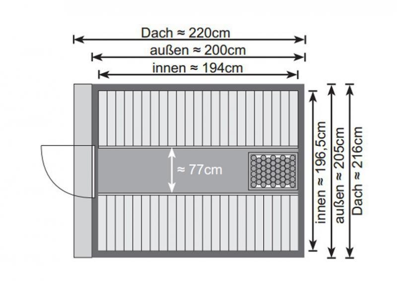 Karibu Gartensauna Fass-Sauna 1  inkl. Ofen 9 kW Bio-Kombi ext. Steuerung