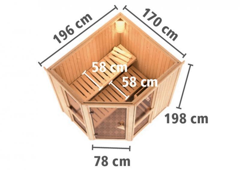 Karibu System Sauna Amelia 1 (Eckeinstieg) 68 mm inkl. Ofen 9 KW ext. Steuerung
