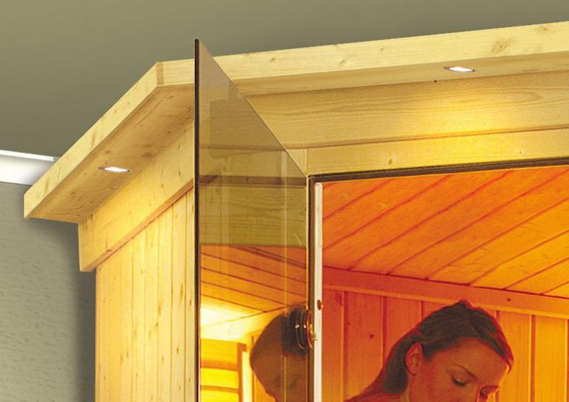 Karibu System Sauna Amelia 1 mit Dachkranz (Eckeinstieg) 68 mm  inkl. Ofen 9 kW Bio-Kombi ext. Steuerung