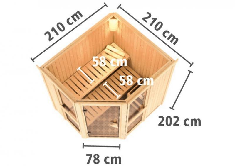 Karibu System Sauna Amelia 2 mit Dachkranz (Eckeinstieg) 68 mm inkl. Ofen 9 kW mit integr. Steuerung