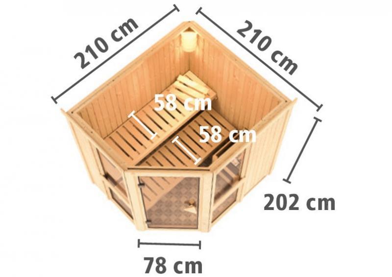 Karibu System Sauna Amelia 2 mit Dachkranz (Eckeinstieg) 68 mm inkl. Ofen 9 KW ext. Steuerung