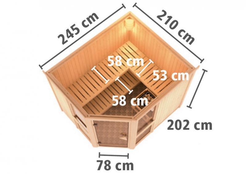 Karibu System Sauna Amelia 3 (Eckeinstieg) 68 mm inkl. Ofen 9 KW ext. Steuerung