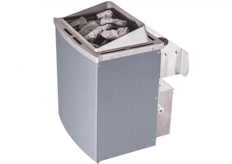 Karibu System Sauna Amelia 3 mit Dachkranz (Eckeinstieg) 68 mm inkl. Ofen 9 kW mit integr. Steuerung