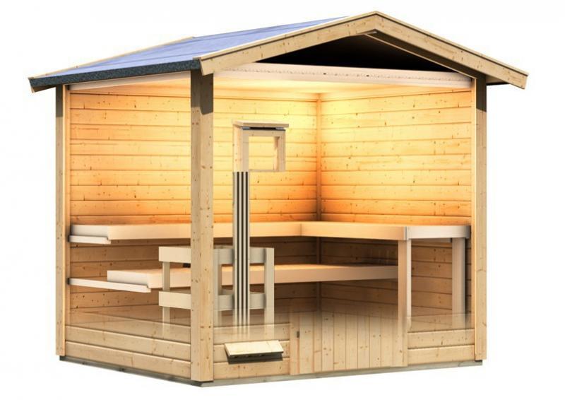 Karibu Gartensauna Bosse inkl. Ofen 9 kW mit integr. Steuerung