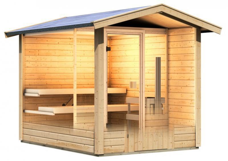 Karibu Gartensauna Lasse mit Vorraum  inkl. Ofen 9 kW Bio-Kombi ext. Steuerung