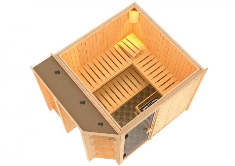 Karibu System Superior Sauna Juna (Fronteinstieg) 68 mm inkl. Ofen 9 kW mit integr. Steuerung