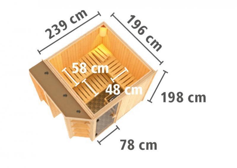 Karibu System Superior Sauna Juna (Fronteinstieg) 68 mm  inkl. Ofen 9 kW Bio-Kombi ext. Steuerung