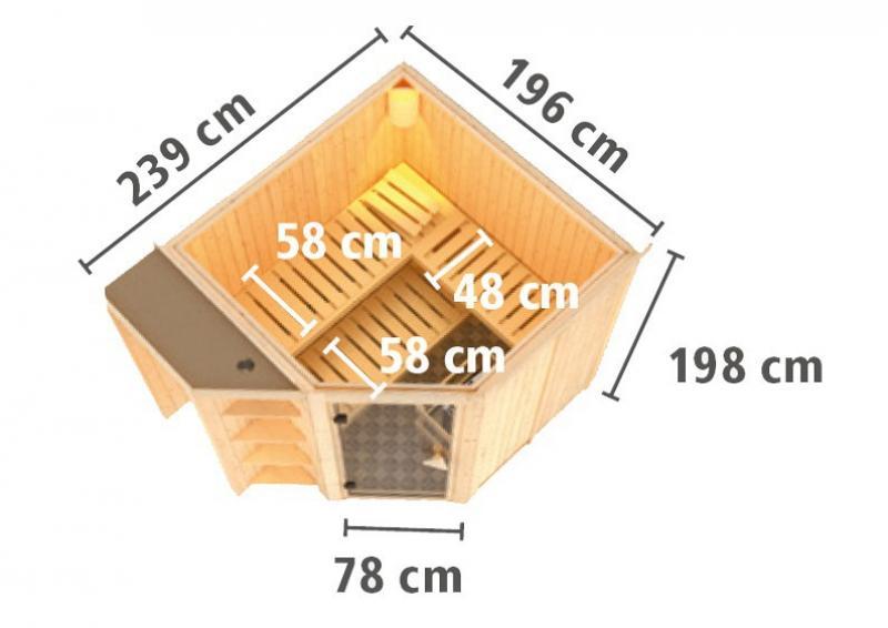 Karibu System Superior Sauna Yaro (Eckeinstieg) 68 mm  inkl. Ofen 9 kW Bio-Kombi ext. Steuerung