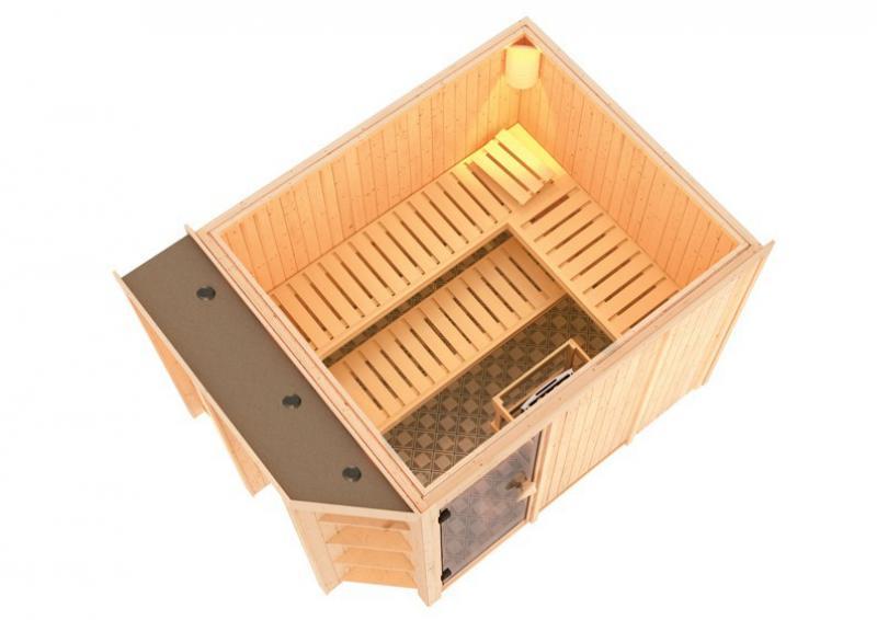 Karibu System Superior Sauna Cara (Fronteinstieg) 68 mm inkl. Ofen 9 kW mit integr. Steuerung