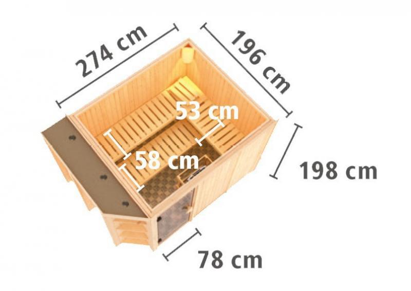 Karibu System Superior Sauna Cara (Fronteinstieg) 68 mm  inkl. Ofen 9 kW Bio-Kombi ext. Steuerung