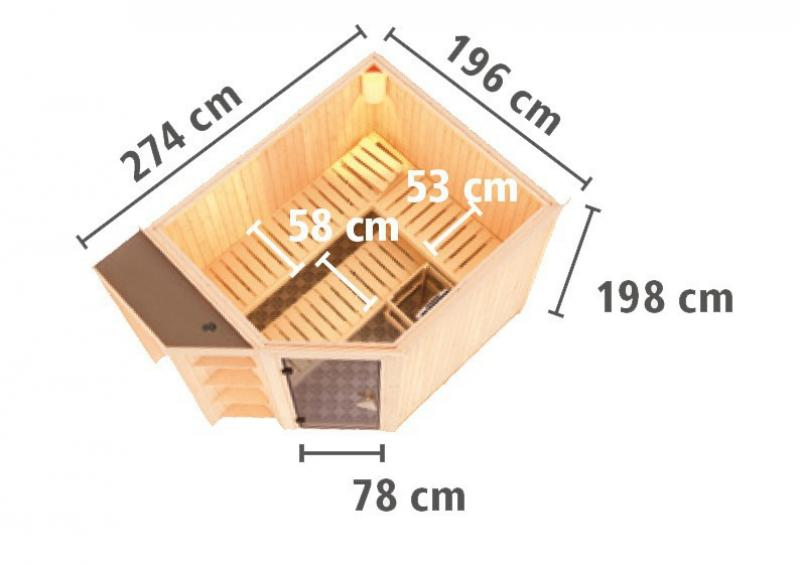 Karibu System Superior Sauna Sjard (Eckeinstieg) 68 mm inkl. Ofen 9 KW ext. Steuerung