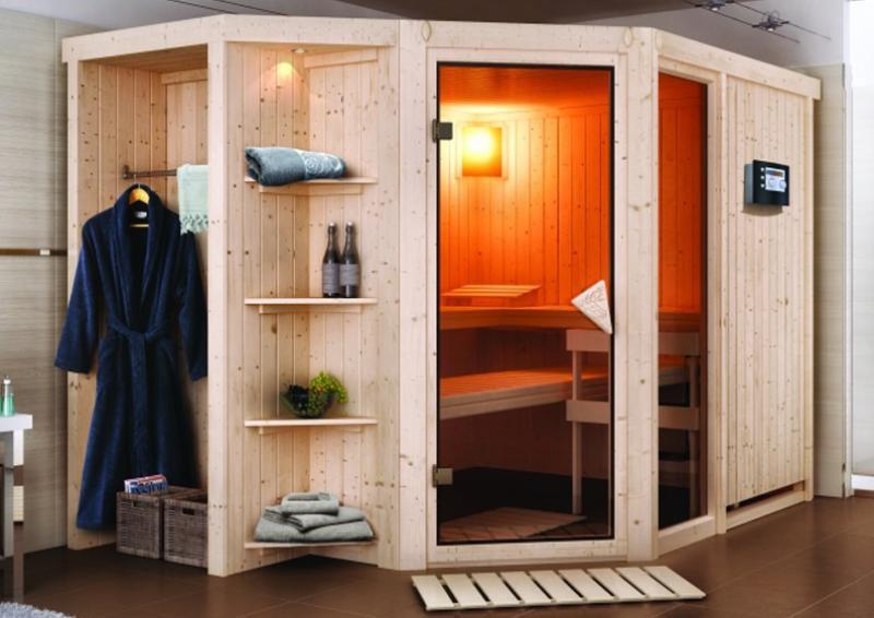 Karibu System Superior Sauna Sjard (Eckeinstieg) 68 mm  inkl. Ofen 9 kW Bio-Kombi ext. Steuerung