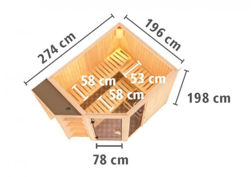 Karibu System Superior Sauna Bria (Eckeinstieg) 68 mm ohne Zubehör