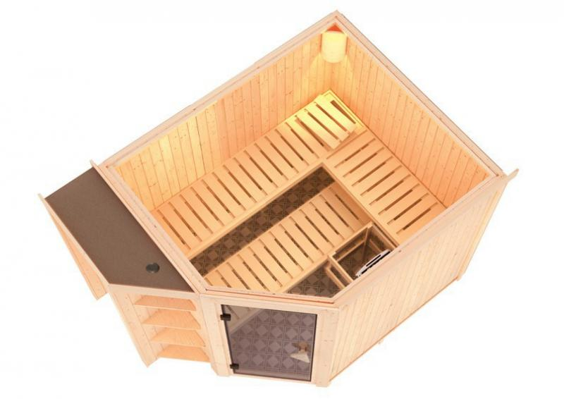 Karibu System Superior Sauna Bria (Eckeinstieg) 68 mm  inkl. Ofen 9 kW Bio-Kombi ext. Steuerung