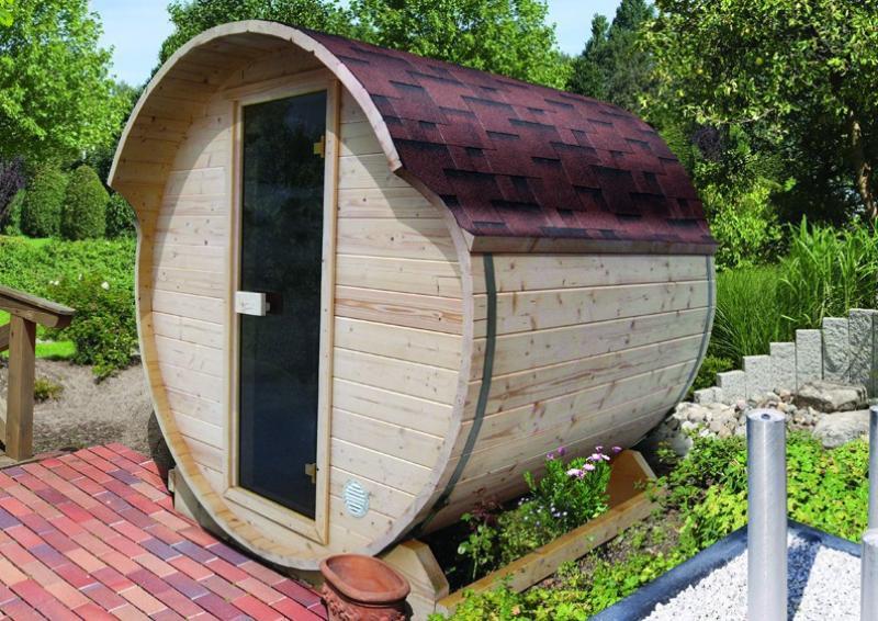 Karibu Fass Sauna 42 mm Fasssauna 1 ohne  Ofen im Set mit 3 Paketen Rechteckschindeln dunkelrot  Plug & Play 230Volt Sauna