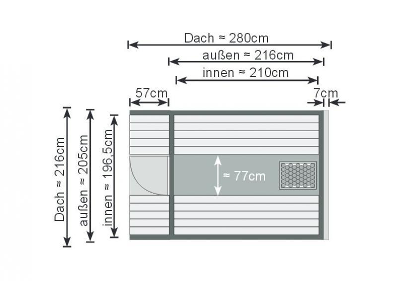 Karibu Fass Sauna 42 mm Fasssauna 2 ohne  Ofen im Set mit 4 Paketen Rechteckschindeln dunkelrot Sauna