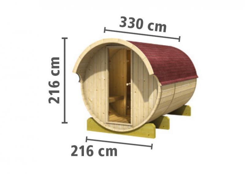 Karibu Gartensauna Fass-Sauna 3 mit Vorraum inkl. Ofen 9 KW ext. Steuerung