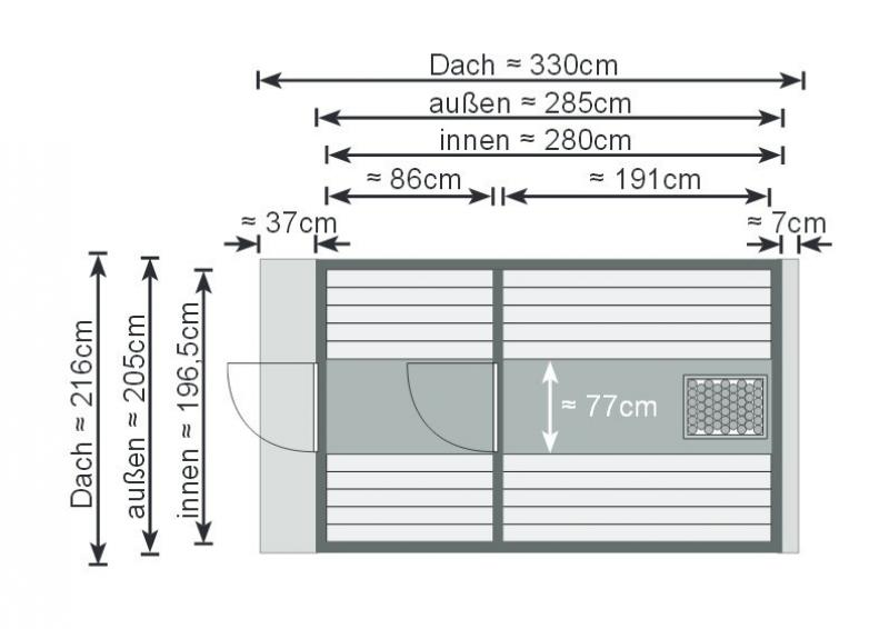 Karibu Fass Sauna 42 mm Fasssauna 3 ohne  Ofen im Set mit 4 Paketen Rechteckschindeln dunkelrot  Sauna
