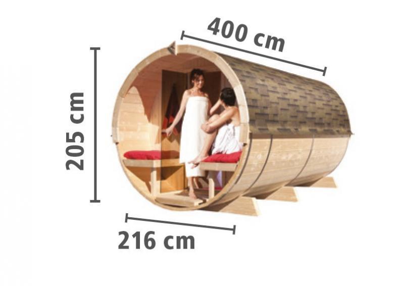 Karibu Fass Sauna 42 mm Fasssauna 4 Ofen 9 KW externe Strg easy  Plug & Play 230Volt Sauna