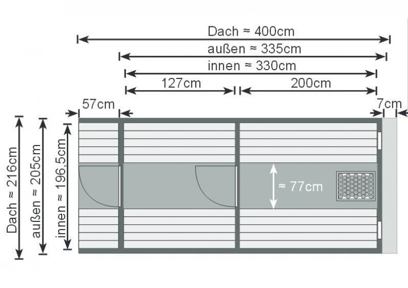 Karibu Gartensauna Fass-Sauna 4 mit Vorraum Sparset inkl. Rechteck-Dachschindeln
