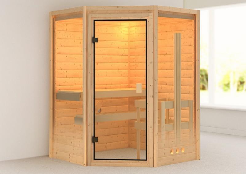 Woodfeeling 38 mm Massiv Sauna Aurel Classic (Eckeinstieg) für niedrige Räume