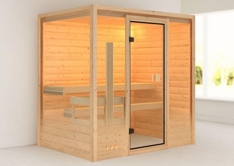 Sauna-Spar-Set: Karibu Scandic Sauna 38 mm Massiv Oslo 1 Classic (Fronteinstieg) für niedrige Räume inkl. 9 KW Finnisch-Ofen int. Strg. und Zubehör - Selbstbausatz