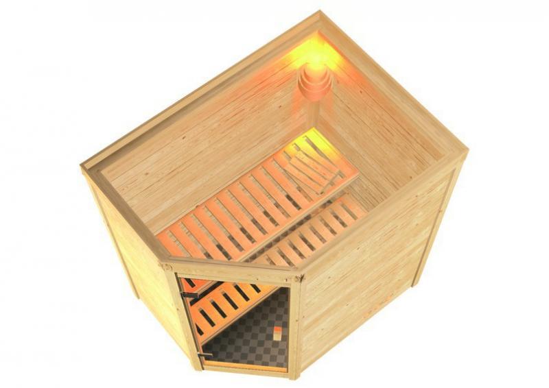 Sauna-Spar-Set: Karibu Scandic Sauna 38 mm Massiv Helsinki 2 Classic (Eckeinstieg) für niedrige Räume inkl. 3,6 KW Finnisch-Ofen int. Strg. und Zubehör - Selbstbausatz