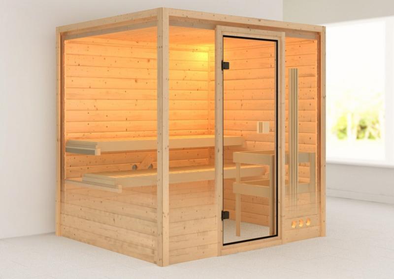 Sauna-Spar-Set: Karibu Scandic Sauna 38 mm Massiv Oslo 2 Classic (Fronteinstieg) für niedrige Räume inkl. 9 KW Finnisch-Ofen ext. Strg. und Zubehör - Selbstbausatz