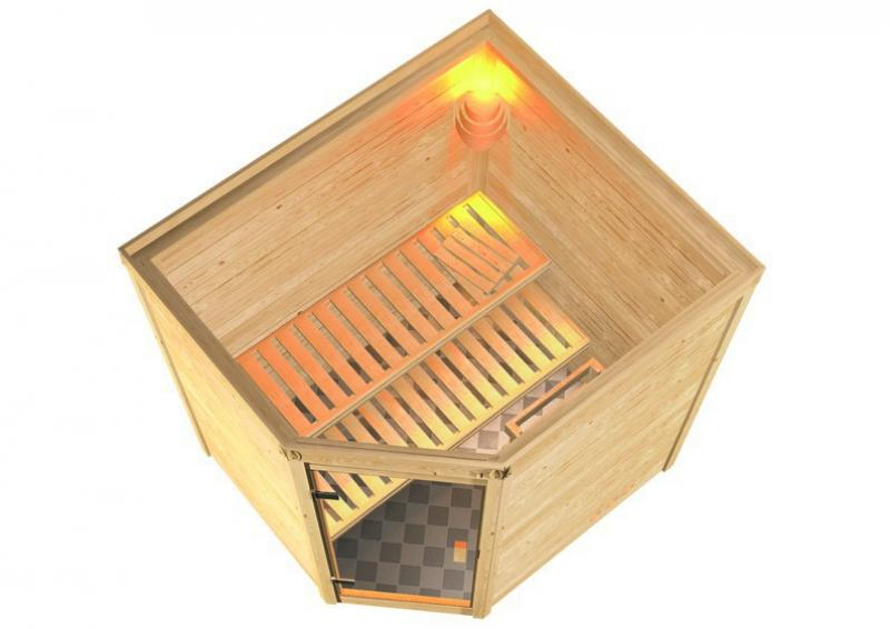 Woodfeeling 38 mm Massiv Sauna Elia Classic (Eckeinstieg) für niedrige Räume