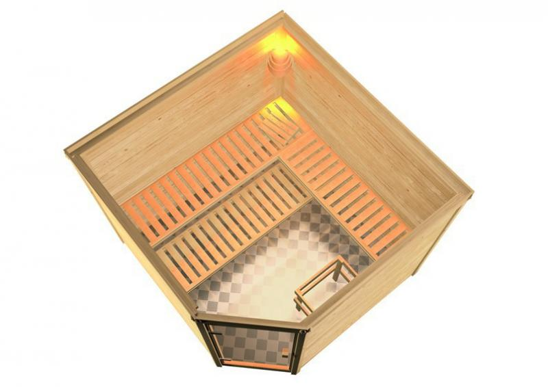 Woodfeeling 38 mm Massiv Sauna Donan Classic (Eckeinstieg) für niedrige Räume
