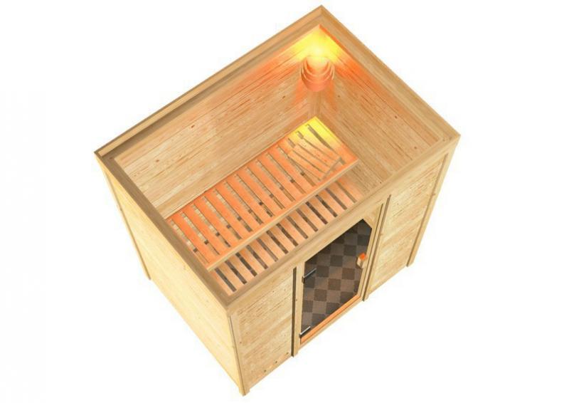 Woodfeeling 38 mm Massiv Sauna Samira Classic (Fronteinstieg) für niedrige Räume mit Dachkranz