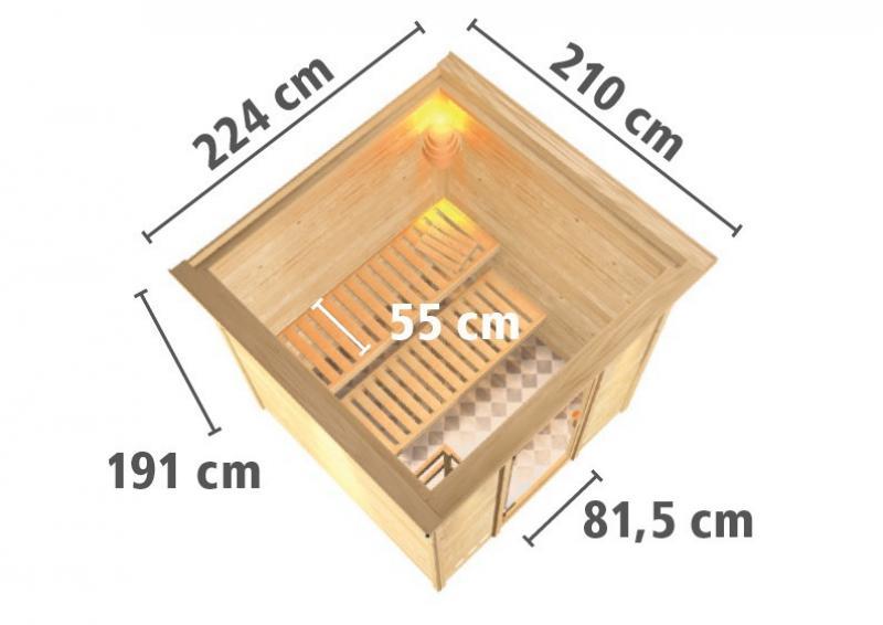 Woodfeeling 38 mm Massiv Sauna Ilya Classic (Fronteinstieg) für niedrige Räume mit Dachkranz
