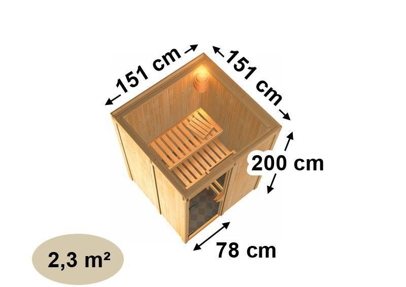 Karibu System Sauna Norin Classic (Fronteinstieg) 68 mm inkl. Ofen 9 kW mit integr. Steuerung