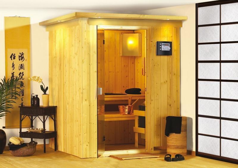 Karibu System Sauna Norin Classic (Fronteinstieg) 68 mm inkl. Ofen 9 kW ext. Steuerung