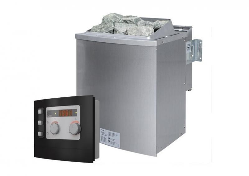 Karibu System Sauna Norin Classic (Fronteinstieg) 68 mm inkl. Biokombi-Ofen 9 kW ext. Steuerung