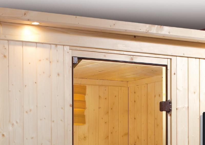 Karibu System Sauna Norin Classic (Fronteinstieg) 68 mm mit Dachkranz inkl. Ofen 9 kW ext. Steuerung