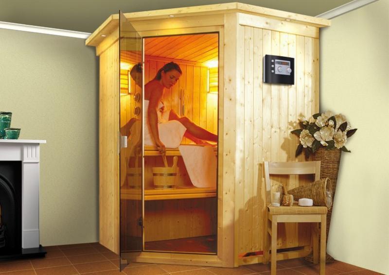Karibu System Sauna Larin Classic (Eckeinstieg) 68 mm inkl. Biokombi-Ofen 9 kW ext. Steuerung