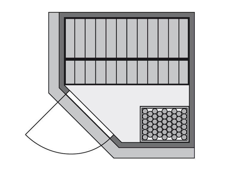 Karibu System Sauna Larin Classic (Eckeinstieg) 68 mm mit Dachkranz inkl. Ofen 9 kW mit integr. Steuerung