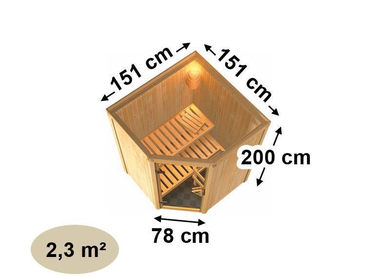 Karibu Heimsauna Larin (Eckeinstieg) Ofen 9 kW Bio externe Strg easy mit Dachkranz 68 mm Systemsauna