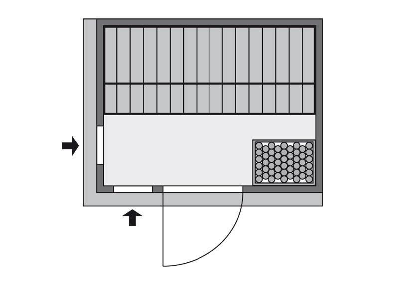 Karibu Heimsauna Bodin (Fronteinstieg) Ofen 9 KW externe Strg easy mit Dachkranz 68 mm Systemsauna