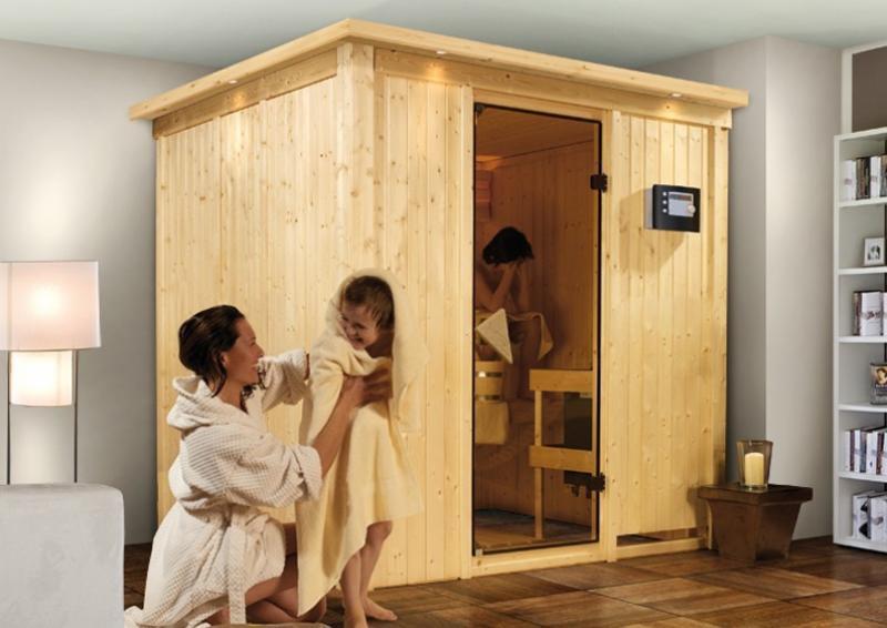 Karibu System Sauna Sodin Classic (Fronteinstieg) 68 mm mit Dachkranz inkl. Ofen 9 kW Bio-Kombi ext. Steuerung